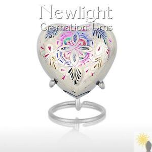 Rainbow Flower (3inch Heart), Keepsake Urns, Heart Keepsakes, Mini Urns