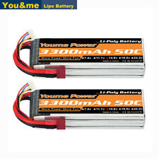 2pcs 14.8V 3300mAh 4S LiPo Battery 50C T For RC Helicopter Boat UAV Drone FPV
