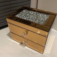 Jewel Diamante Copper Mirror Jewellery Box Chest Trinket 2 Drawer Jewellery Box