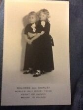 ANTIQUE 1930's POSTCARDS OF DOLORES AND SHIRLEY CURTIS MIDGET TWINS