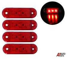 4x Red Small Rear Tail Side Marker Lights 3 Led Lights Lamp Lorry Trailer 12-24v