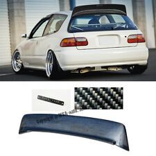 For 92-95 Civic EG6 BYS Style Roof Spoiler Wing 3Drs Hatchback Carbon + Emblems
