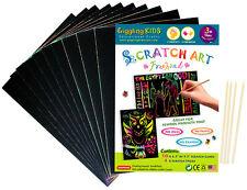 "New Kids Premium Large Plain Scratch Art Kit 9.5"" x 6.5"" (10 pc), au Seller"