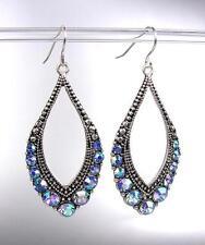 SPARKLE Antique Silver Metal CZ Blue Topaz AB Crystals Tear Drop Dangle Earrings