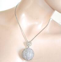 COLLANA CIONDOLO argento donna girocollo catenina strass collier cristalli F300