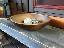 Antique Large 17″ Wooden  Turned Dough Bowl Primitive Farmhouse