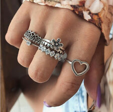 Hot 6 PCS Retro Carved Women Fashion Alloy Crown Flower Cristal Knuckle Rings