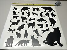 Lot 30 cat silhouette vinyl decal sticker kitty wall art decor 2 to 8""