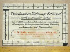 Drahn Briefmarkenhandlung, Cöln: Briefmarken-Zähnungs-Schlüssel, Wasserzeichensu