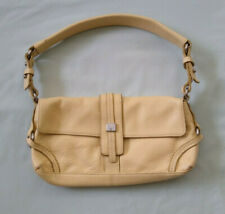 "TOMMY HILFIGER 11"" Tan Leather Satchel Handbag Purse"