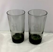 "2 Vintage Monogramed Inital ""H"" Glass Smoke Smoky Gray Barware Cocktail Tumbler"