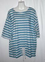 WOMEN'S EXTRA TOUCH GRAY AND BLUE STRIPED SHORT SLEEVE TOP BLOUSE SIZE 22W 2X
