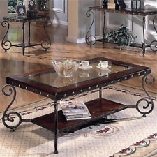 Coffee Cocktail Table Glass Top Living Room Modern Wood Base Scrolled Metal Legs