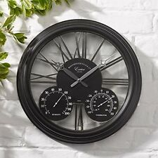 Outdoor Garden Patio Wall Clock Thermometer Indoor Home Vintage Retro Hygrometer