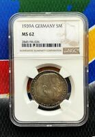 NGC MS 62 1939 A  5 Mark WW2 German Silver Coin Third Reich Swastika Reichsmark