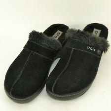 Crocs Suede Leather Faux Fur Mules Clogs Shoes Womens Size 8 M US Black 11602