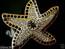 SIGNED SWAROVSKI GOLD PLATED CRYSTAL STARFISH  PIN ~ BROOCH RETIRED NEW