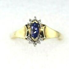 NEW TANZANITE SOLITAIRE DIAMOND RING REAL SOLID 10 K YELLOW GOLD 1.9 g SIZE 6.75