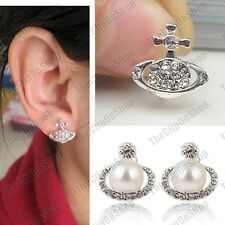CLIP ON saturn CRYSTAL PLANET EARRINGS orb RHINESTONE PEARL silver fashion clips