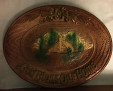 "Ornawood Hanging Plate 11"" By 7"" 1954 God Bless Our Home Wooden Look Wood Dish"