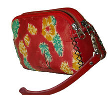 Leather Wristlet Wallet/Change Purse. Dual Zipper & Rooms, Hawaii Scenery, Red