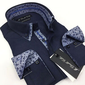 MENS NAVY OXFORD SHIRT WITH FLORAL COLLAR BUTTON CUFF DOUBLE COLLAR