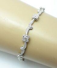 0.40 CT Diamond 14K White Gold Flower Tennis Bracelet