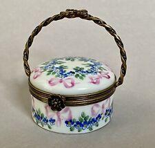 Peint Main Limoges France Dp Pink Bows Blue Flower Basket Trinket Box Free Ship