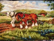 Wall Hanging Tapestry Rug thick farmer w/ horses 1.30 x 0.70 mt vivid colors