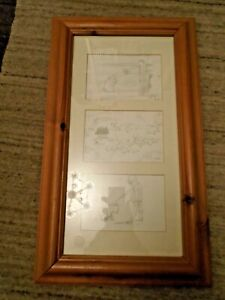 3x Framed E. H. Shepard (Winnie The Pooh) Pencil Sketches - Good Condition