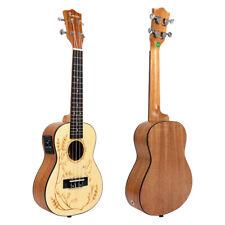 Kmise 23 Inch Electric Acoustic Concert Ukulele Uke Ukelele Guitar Solid Spruce