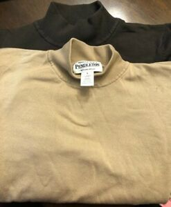 2- Pendleton Portland Oregon long sleeve- 72%Silk. Size Large (Tan)Size Large