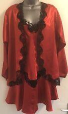 Victoria Secret Vintage Satén Rojo Negro's Encaje Roby & Chemise Conjunto Pequeño