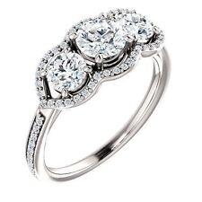 1.17 Carat total 3 Stone Round Diamond Engagement Wedding 14k Gold Ring G SI1