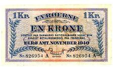 Faeroe Island … P-9 … 1 Krone … 1940 … *F-VF*.