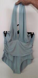 💋 Womens Baby Blue PrettyLittleThing  Halter Neck Bodysuit Romper Size 12 💋