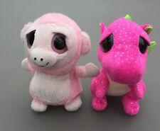 TY Keel Soft Toys Bundle Pink Baby Dinosaur Raccoon Big Eyes Collectable Plush