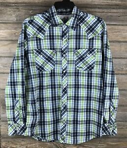 BULLHEAD XL Green Plaid Pearl Snap 100% Cotton Western Style Long Sleeve Shirt