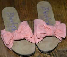 BLOWFISH MALIBU PEACH FABRIC BOW SLIDES FLAT BEACH SANDALS UK 4 EURO 37 US 6 NEW