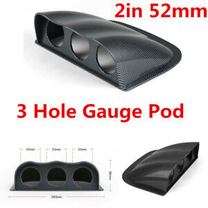Car Carbon Fiber Look Triple 3 Hole Mount Holder Pod For 2in 52MM Gauge