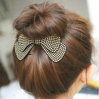 Hair Clip Headwear Rhinestone Crystal Double Layer Ribbon Bow Knot Hair Pins