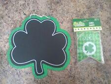 New listing St Patrick's Day Green Glitter Chalkboard Shamrock Sign and Burlap Banner