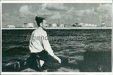 1941 Shoreline of Haifa Oil Storage Tanks Original News Service Photo
