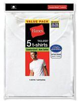 5 Hanes Mens White TAGLESS Crewneck T Shirt Undershirt Size 2XL-3XL Best Seller