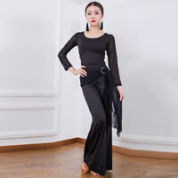 NEW Latin salsa tango rumba Cha cha Ballroom Dance Dress Top&Pants#G166 Black