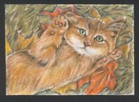 a01942 original ACEO cat mouse kitten ⭐AlbertStoneGallery⭐ by Koval