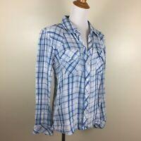 RAILS Womens M Medium Blue Mint White Plaids Checks Long Sleeve Button Shirt