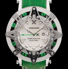 New Xoskeleton Superlative Star Ladies Swiss Quartz Green Leather Watch
