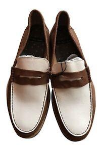 Paul Smith MANCINI Tan & White Leather Loafer Shoes UK 7.5 EU 41