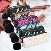 Womens Mermaid Sequin Glitter Cosmetic Bag Pencil Case Coin Purse Makeup Travel